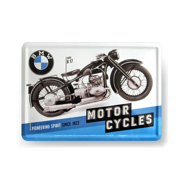 BMW Blechpostkarte - Pioneering Spirit since 1923