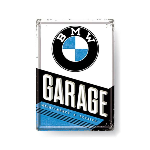 BMW Blechpostkarte Garage 10x14cm