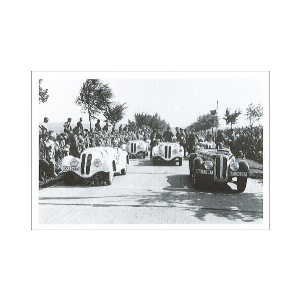Postkarte BMW-328 Sportwagen am Start zum H7