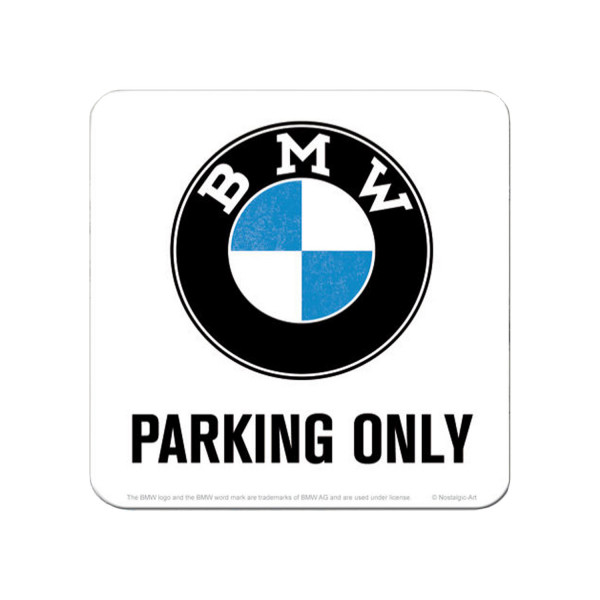 BMW Metall Untersetzer Parking Only white 9x9 cm