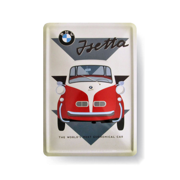 BMW Blechpostkarte Isetta - The worlds most economical car