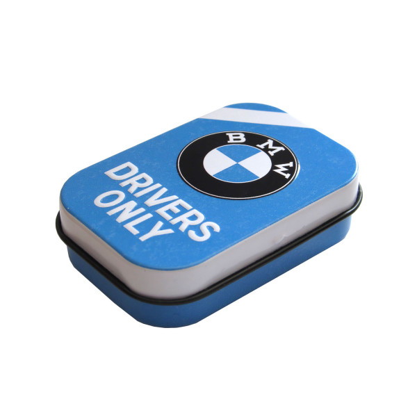 BMW Pillendose Drivers Only Blue 4x6 cm