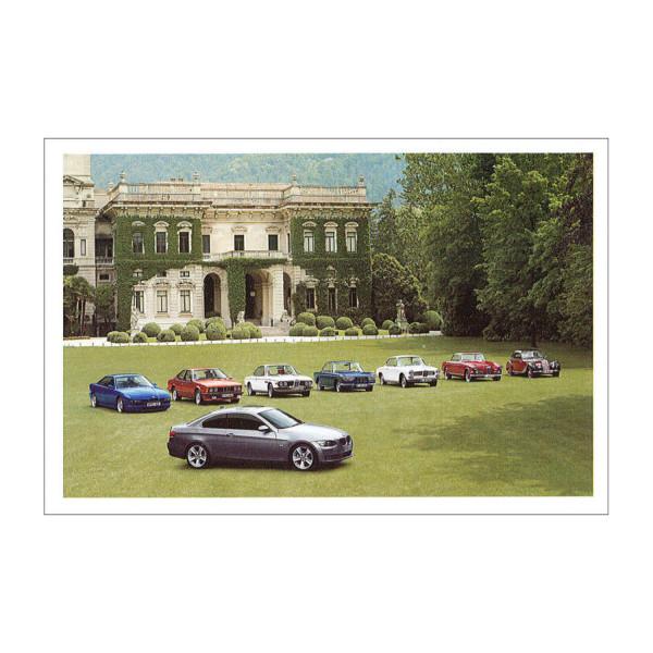 Postkarte BMW 335i, 850CSI, 628CSi mit Neuwagen