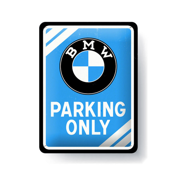 BMW Blechschild Parking Only blue