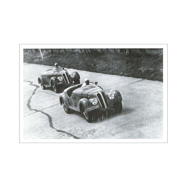 Postkarte Zwei BMW 328 beim Eifelrennen 1937