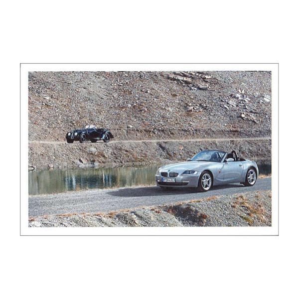 Postkarte BMW 328 (Hintergrund), BMW Z4 3.0si (Vordergrund)