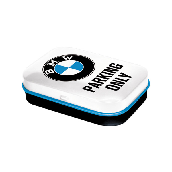 BMW Pillendose Parking Only white 4x6 cm